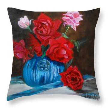 Throw Pillow featuring the painting Red Roses And Blue Vase by Jenny Lee