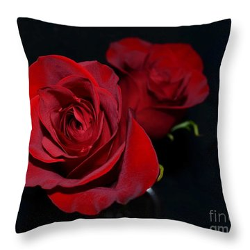Red Roses For A Blue Lady Throw Pillow by Luther Fine Art