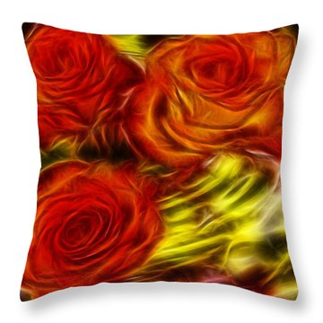 Throw Pillow featuring the painting Red Roses In Water - Fractal  by Lilia D