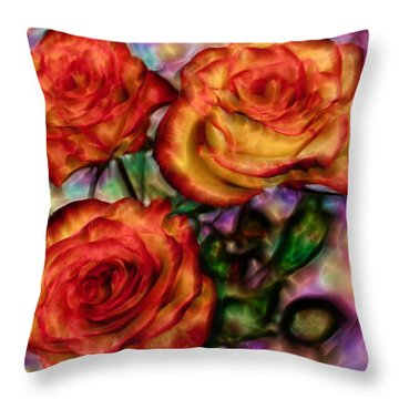 Throw Pillow featuring the digital art Red Roses In Water - Silk Edition by Lilia D