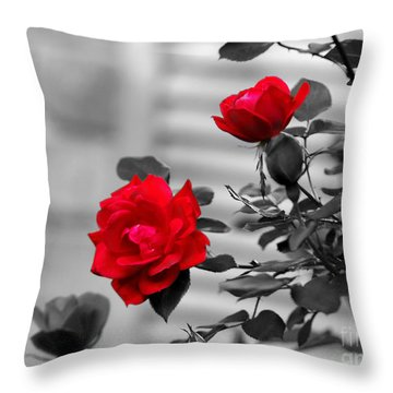 Red Roses Throw Pillow by Jai Johnson