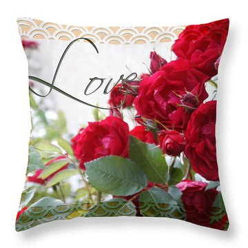 Throw Pillow featuring the photograph Red Roses Love And Lace by Sandra Foster