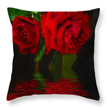 Red Roses Reflected Throw Pillow by Joyce Dickens