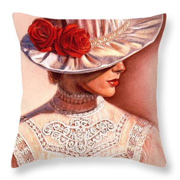 Red Roses Satin Hat Throw Pillow