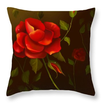 Red Roses Throw Pillow by Sena Wilson