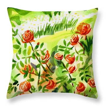 Red Roses With Daisies In The Garden Throw Pillow by Kip DeVore