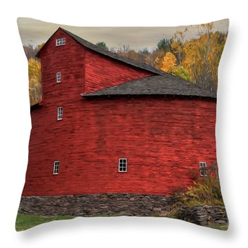 Red Round Barn Throw Pillow