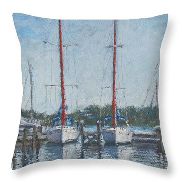 Red Sails Under Gray Sky Throw Pillow