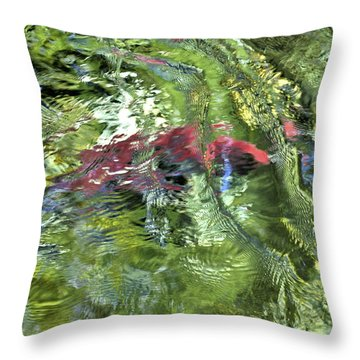 Throw Pillow featuring the photograph Red Salmon In Steep Creek by Cathy Mahnke