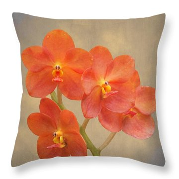 Red Scarlet Orchid On Grunge Throw Pillow
