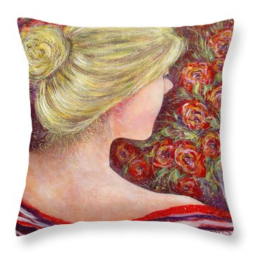Throw Pillow featuring the painting Red Scented Roses by Natalie Holland