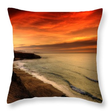 Throw Pillow featuring the photograph Red Serenity Sunset by Julis Simo