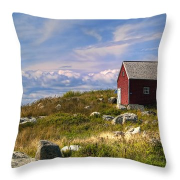Red Shack By The Water Throw Pillow by Ken Morris