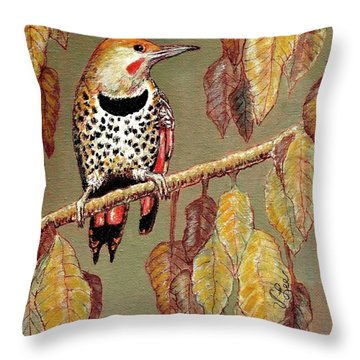 Throw Pillow featuring the painting Red Shafted Flicker by VLee Watson