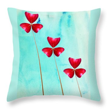 Red Shamrock Trio Throw Pillow