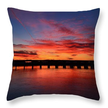 Red Shine Sunset Throw Pillow