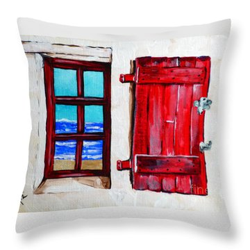 Red Shutter Ocean Throw Pillow by Jackie Carpenter