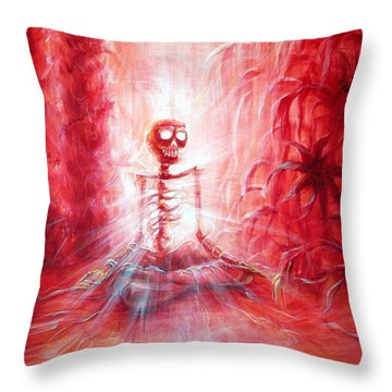 Red Skeleton Meditation Throw Pillow