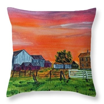 Red Skies At Night Farmers Delight Throw Pillow