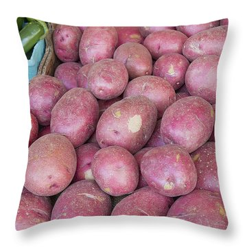Red Skin Potatoes Stall Display Throw Pillow by Jit Lim