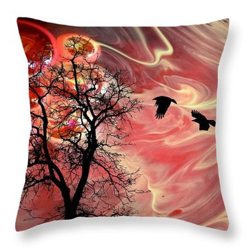 Red Sky In Morning Throw Pillow