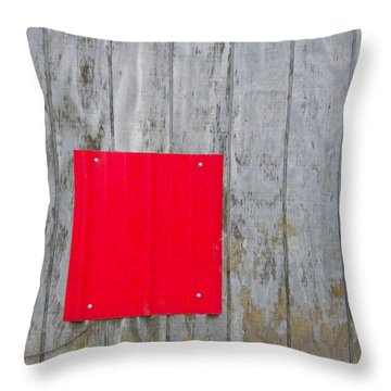 Red Square On A Wall Throw Pillow