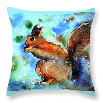 Throw Pillow featuring the painting Red Squirrel  by Trudi Doyle
