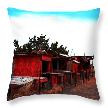 Throw Pillow featuring the photograph Red Stands by Maggy Marsh