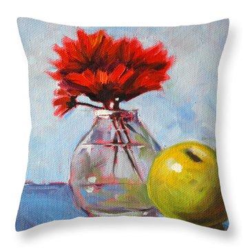 Red Still  Throw Pillow by Nancy Merkle