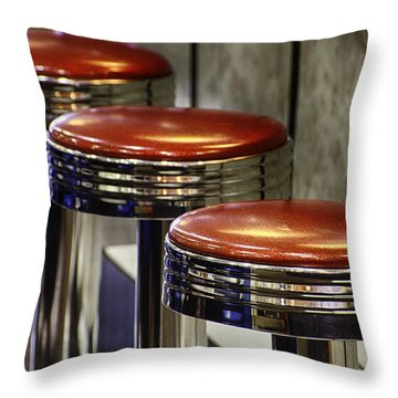 Red Stools Throw Pillow by Betty Denise