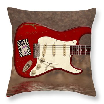 Red Strat 3 Throw Pillow by WB Johnston