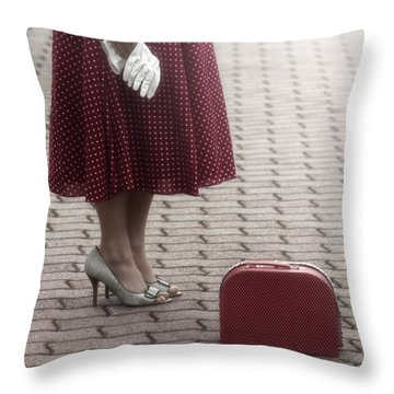 Red Suitcase Throw Pillow by Joana Kruse