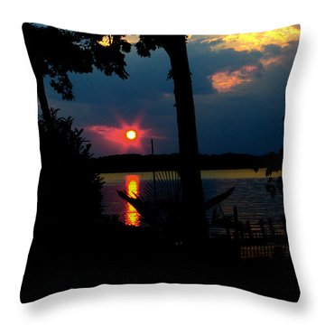 Throw Pillow featuring the photograph Red Sun by James C Thomas