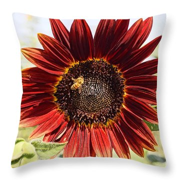 Red Sunflower And Bee Throw Pillow