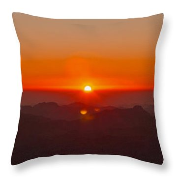 Throw Pillow featuring the pyrography Red Sunrise In Sinai Montains by Julis Simo