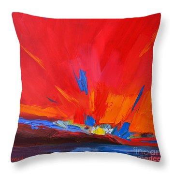 Red Sunset, Modern Abstract Art Throw Pillow