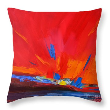 Red Sunset, Modern Abstract Art Throw Pillow