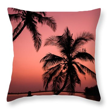 Red Sunset In The Tropics Throw Pillow