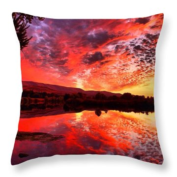 Red Sunset Throw Pillow by Lynn Hopwood