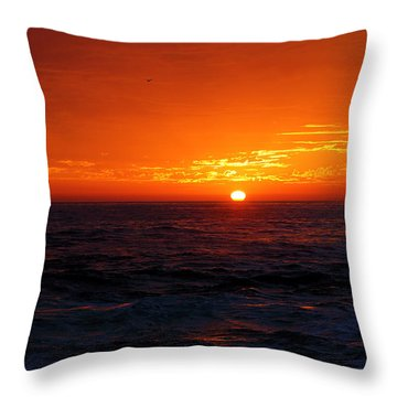 Red Sunset On Pacific Ocean Throw Pillow