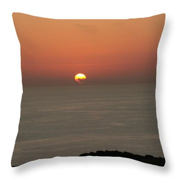 Red Sunset Over Sea Throw Pillow by Gordon Auld