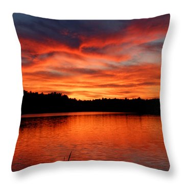 Red Sunset Reflections Throw Pillow