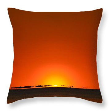 Red Sunset With Superior Mirage On Santa Rosa Sound Throw Pillow by Jeff at JSJ Photography