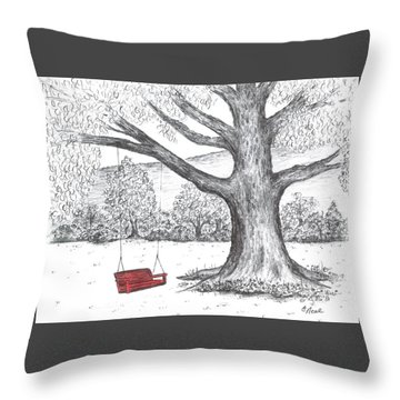 Red Swing Throw Pillow