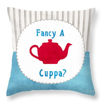 Red Teapot Throw Pillow by Linda Woods