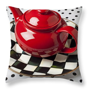 Red Teapot On Checkerboard Plate Throw Pillow
