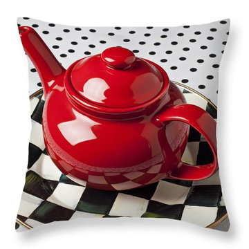 Red Teapot On Checkerboard Plate Throw Pillow by Garry Gay