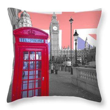 Red Telephone Big Ben Throw Pillow