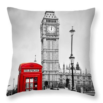 Red Telephone Booth And Big Ben In London Throw Pillow