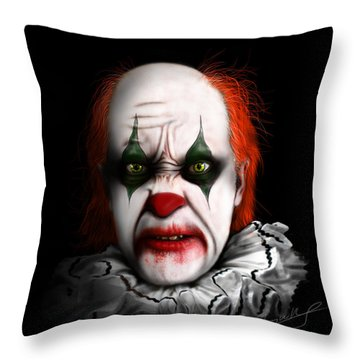 Red The Clown Throw Pillow by Jeremy Martinson